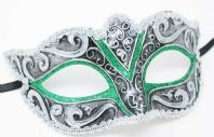 Silver and Green Mask